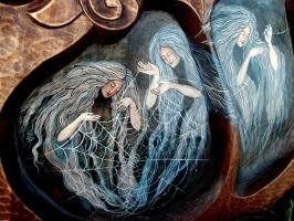 Bowl with Three Norns (detial 01) by Edita-Woodcarver