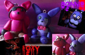 Five Nights at Freddy's Foxy and Bonnie Clay by DOLLce13
