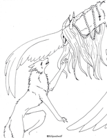 FREE wolf n god LINEART by Eclipsedwolf