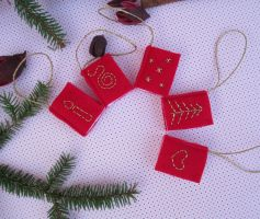 Tiny Red Felt Books with Gold Embroidery by ExinaArt