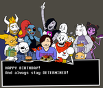 Undertale-themed birthday card by CaptainQuestion