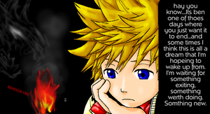 Roxas and a word of longing by Dekuinthelake