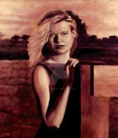 Portrait of country girl at sunset : Oil Painting by christiano2211