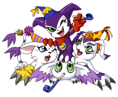 Impmon,Calumon,Gatomon e Gomamon Party by KentaKitagawa