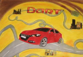 Dodge Dart car - Traditional Drawing by PeggytheDragon