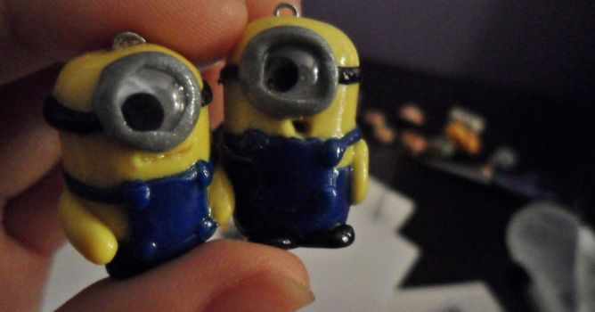 Polymer-Clay Minion Charms by HelloHeidi