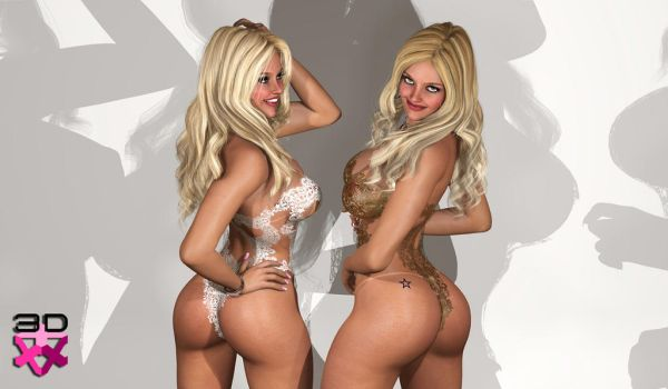 TWINS NICOLE and LETICIA - AMORE LACE LINGERIE2 by 3D-Angels