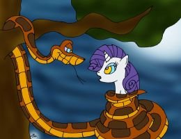 Kaa Meets Rarity Painted by lol20