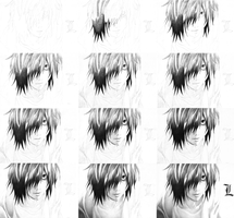 Process of L's Premonition (Death Note) by DesignerMF