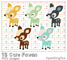 Cute Fawns Clipart set by SparklingTea