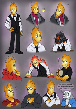 A bunch of Grillbys by AbsoluteDream