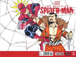 Spiderman vs Kraven sketch comic cover by mdavidct