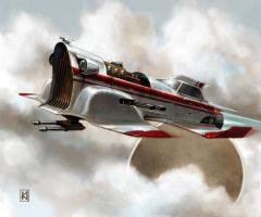 Retro Rocket Ship by sugarsart