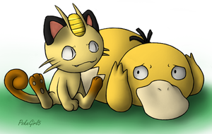Meowth And Psyduck by PokeGirl5