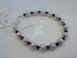Silver filigree and purple AB bracelet 348 by Quested-Creations