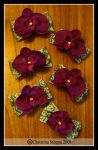 Purple Orchid Clips by Kurokami-Kanzashi
