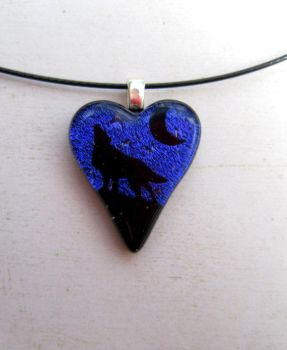 Wolf Love Fused Glass Necklace by FusedElegance
