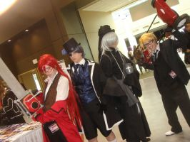 Grell, Ciel, Undertaker, and Ronald Knox by AnimeOCD1323