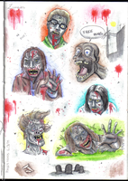 Zombies Watercolor by Nicolaiko