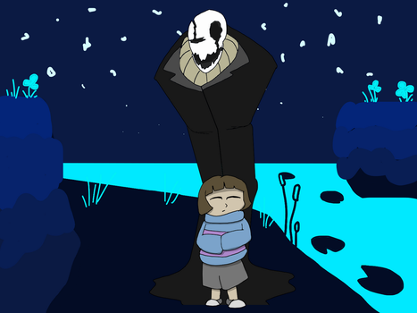 Gaster and Frisk - Undertale by TheEmeraldOreArtist