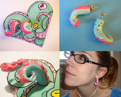 tentacle earrings by papersouls