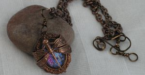 Dragonfly Wrapped Dragon's Breath Necklace Unique by artistiquejewelry