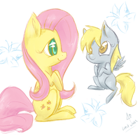 DFD: Fluttershy and Filly Derpy Hooves by lilfaux