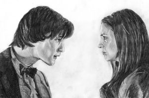 Eleventh Doctor + Amy Pond by The-Ribboned-One