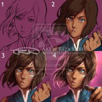 Korra War Paint Process by Artipelago