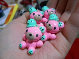 Pink Mint Chocolate Chip Bear Charms by MaiStashio