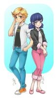 Adrien and Marinette LADYBUG by lince