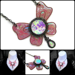 Big Iridescent Butterfly Necklace by HoneyCatJewelry