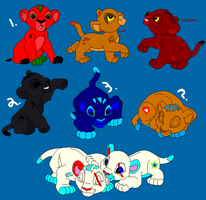 My OCs with some adoptables for Sale by liongirl2289