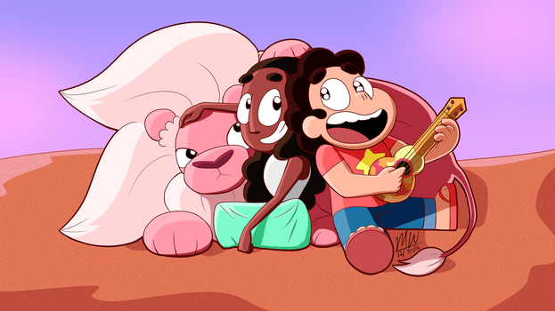 Steven, Connie and Lion by Most-High-Studios