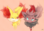 Fennekin and zorua by Natx-chan