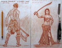 Barbarian Warrior and Belly Dancer Sword by pesim65