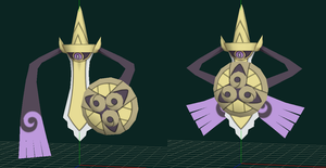 Aegislash papercraft shield / edge preview by javierini