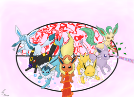 Eeveelutions, go! by Shadowedfrost