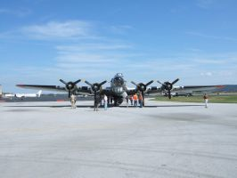 B-17G Aluminum Overcast Front View by Aya-Wavedancer