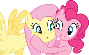 Pinkie Pie and Fluttershy -  Cheek hug by CaNoN-lb