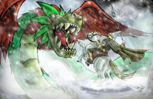 odin vs quetzalcoatl by ZipDraw
