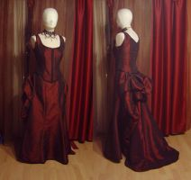 Azdaja's Red Bustle Gown by HistoricCostume