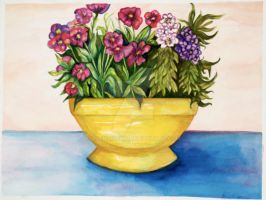 Flower Bowl Watercolour by alanahawk