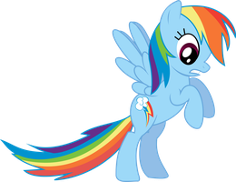 Rainbow Dash pulling nothing by Starlyk