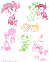 Fairly OddParents sketches by Asp3ll