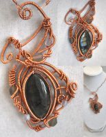 Copper wrapped labradorite by JozzyKane