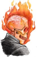 Ghost Rider Head by ToxicNeonSpaceMonkey