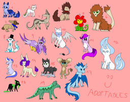 Here have 19 OPEN adoptables! by onelittlefurrycat
