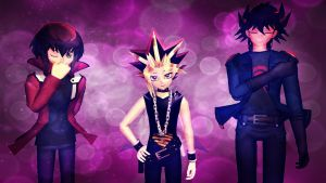 MMD Yu-Gi-Oh - The main 3 - Wallpaper by InvaderBlitzwing