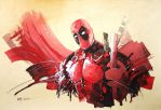 Deadpool - Watercolour by Abstractmusiq